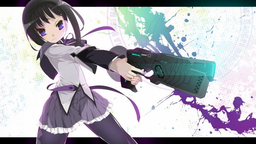 akemi homura black hair gun kuro chairo no neko mahou shoujo madoka magica pantyhose parody psycho-pass seifuku weapon wallpaper