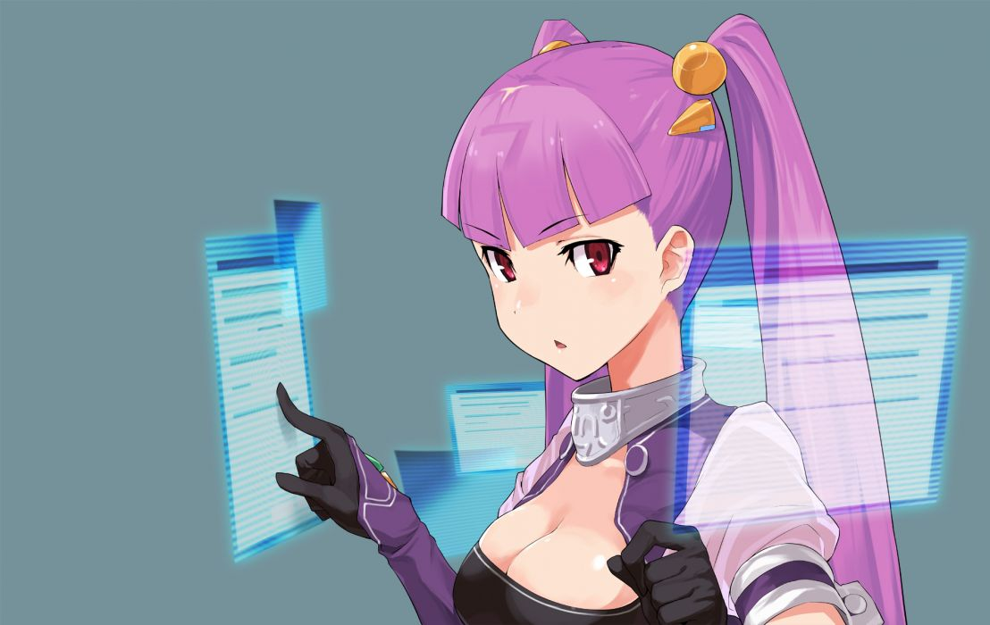 anthropomorphism bing cleavage microsoft nanami (bing) pink hair windows wallpaper