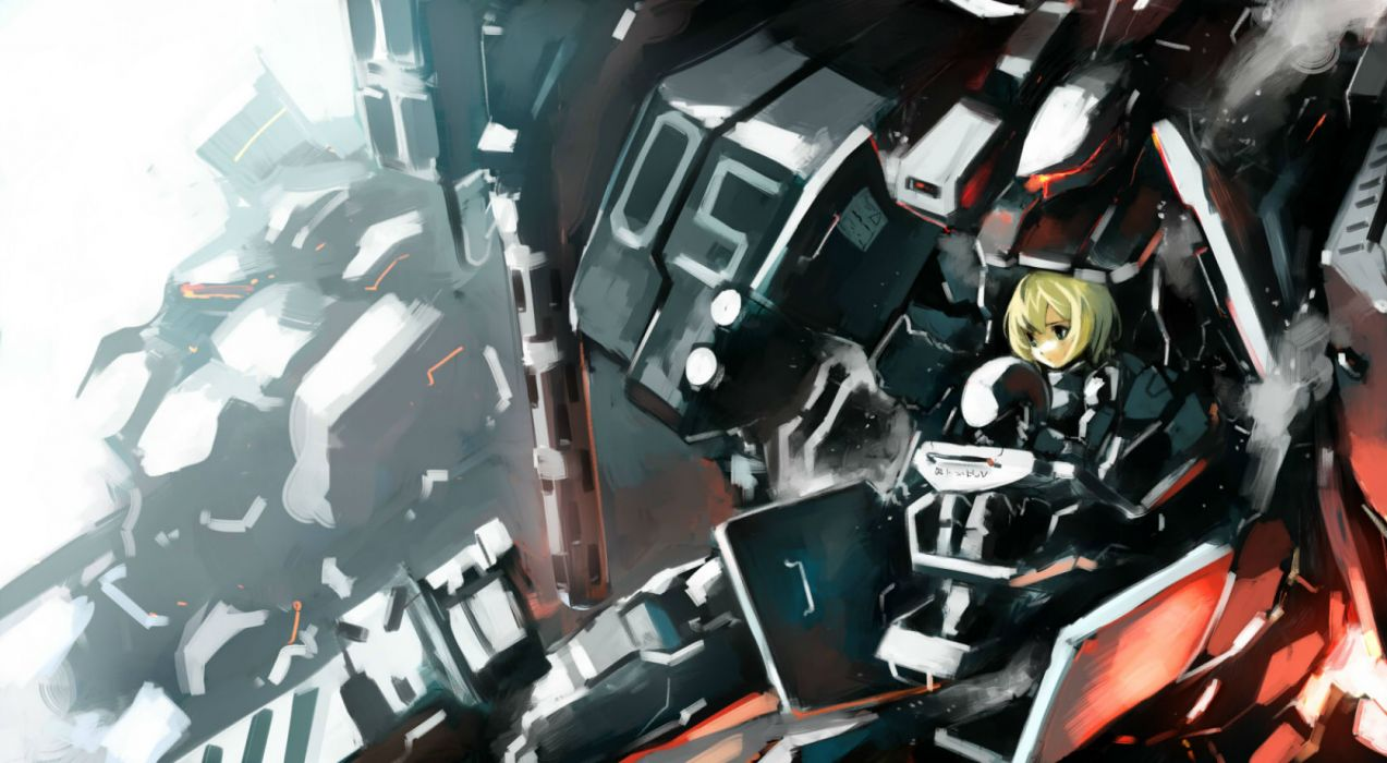 armored core blonde hair blue eyes kusanagi kikoku mecha short hair wallpaper