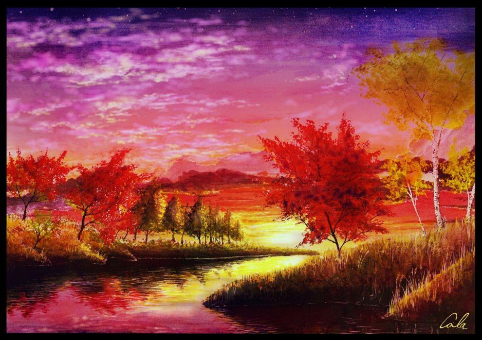 autumn clouds cola (gotouryouta) grass landscape original scenic signed sky sunset tree water wallpaper