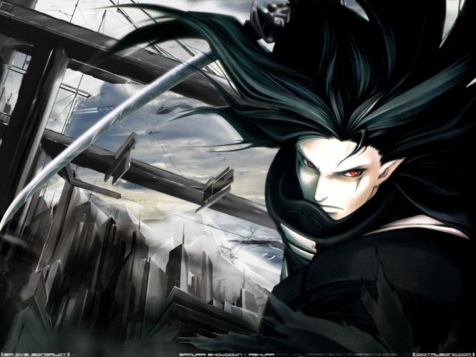 black hair red eyes samurai showdown samurai spirits sword weapon wallpaper