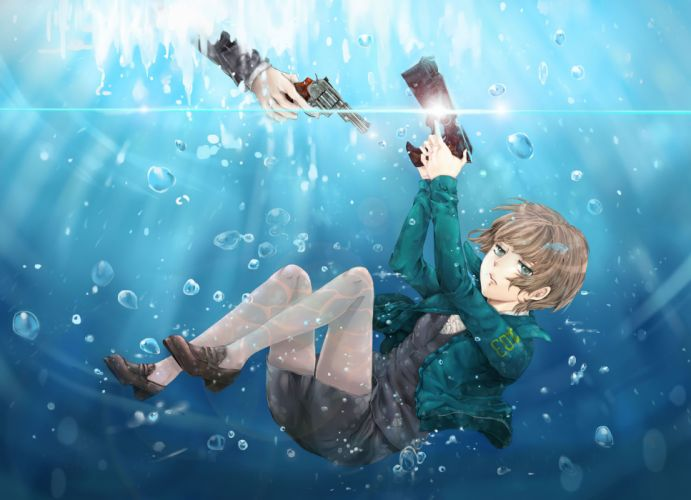 blue eyes brown hair bubbles gun psycho-pass tagme (character) underwater weapon wallpaper