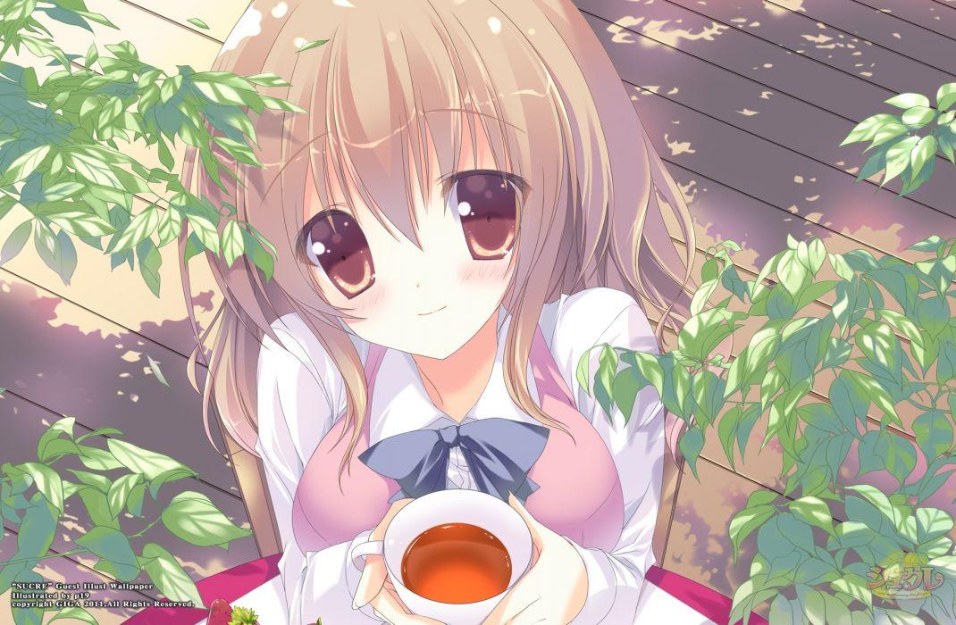 brown eyes brown hair kusakabe miharu p19 ribbons sucre tagme wallpaper
