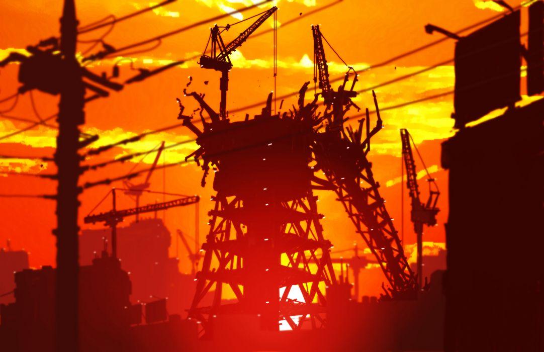 building city clouds czn original scenic silhouette sky sunset wallpaper