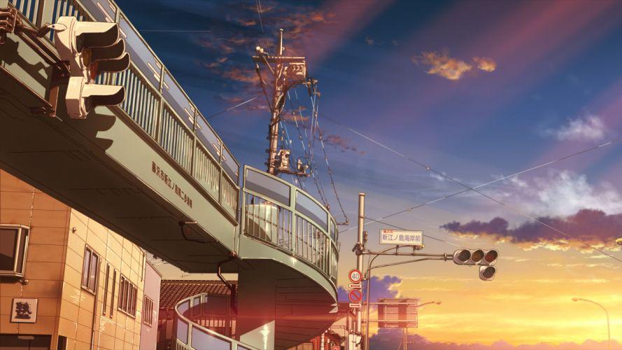 building city clouds isai shizuka original scenic sky sunset wallpaper