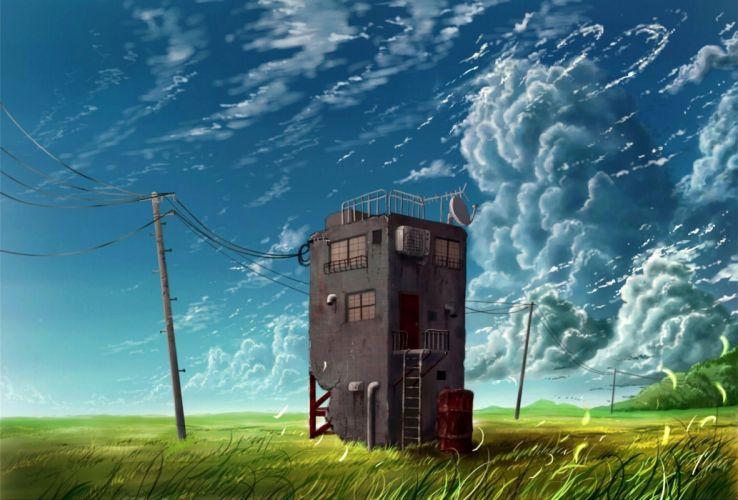 building clouds cola (gotouryouta) grass original scenic sky wallpaper