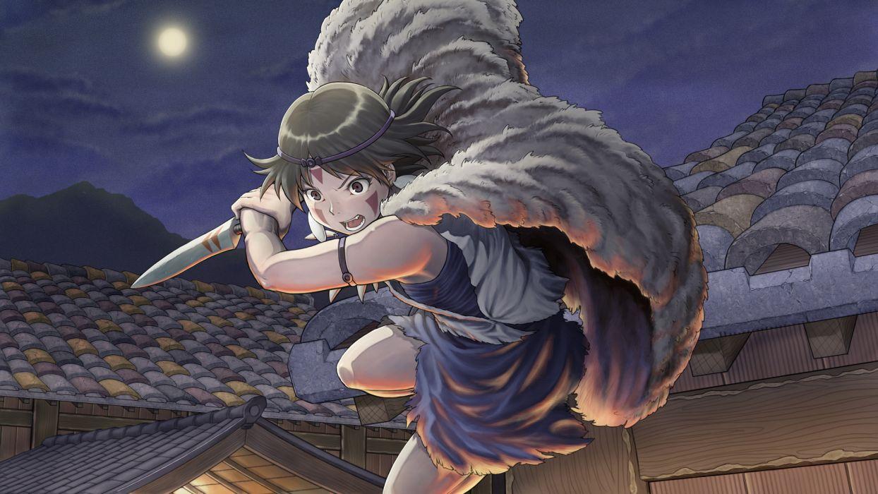 chiaki rakutarou ghibli mononoke hime moon night san weapon wallpaper