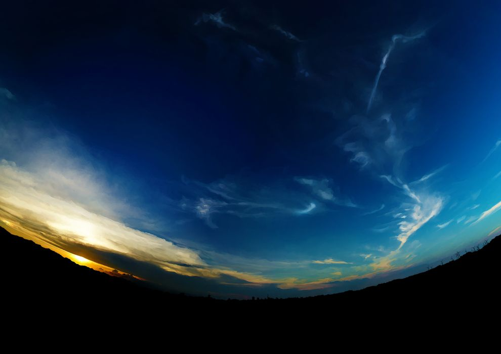 clouds original scenic shimei jien sky sunset windmill wallpaper