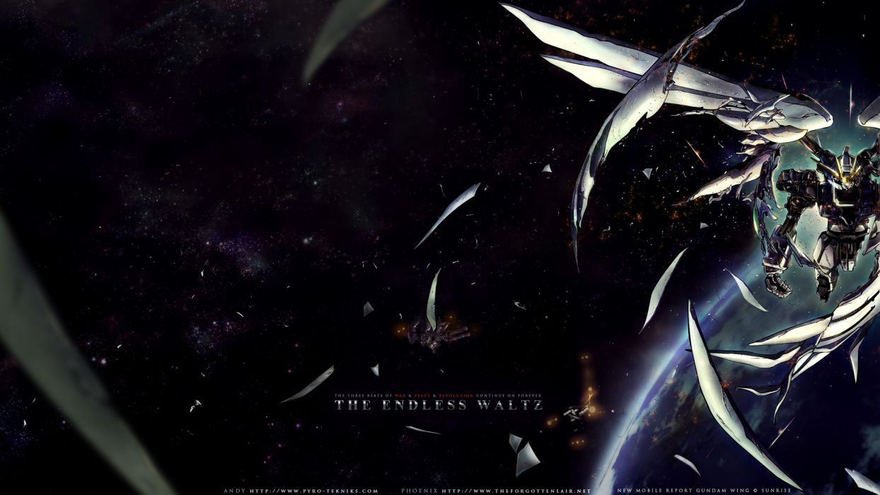 earth gundam wing mecha mobile suit gundam planet space stars wings wallpaper