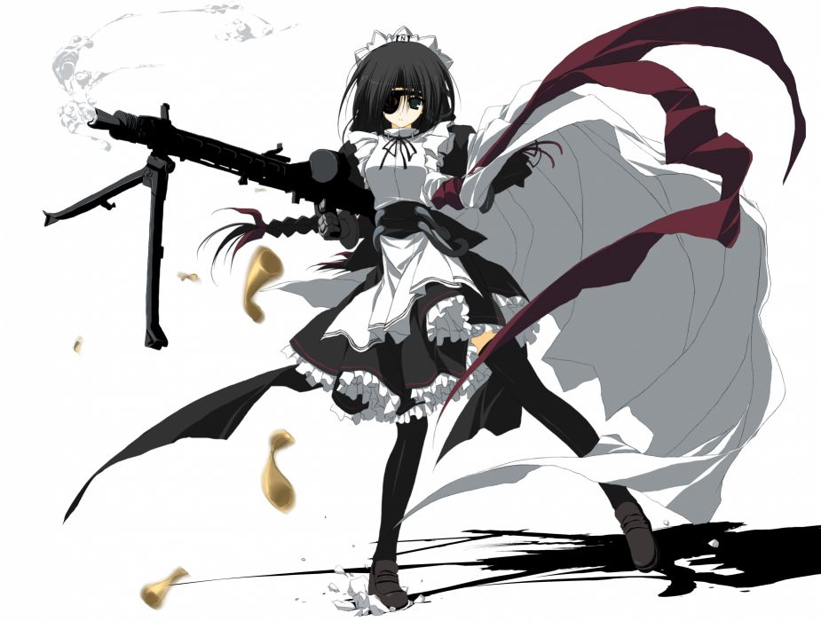 eyepatch gun maid moekko company n12 suzuri weapon white wallpaper