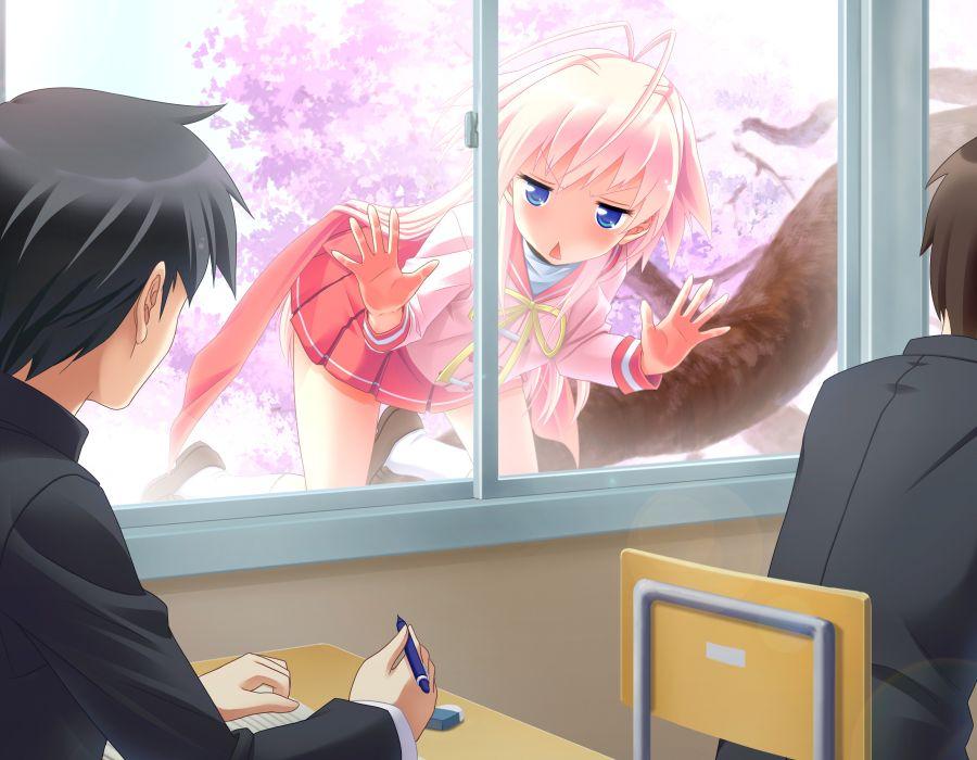 game cg hiyoko strike! kagami utakata pink hair seifuku yasuyuki wallpaper