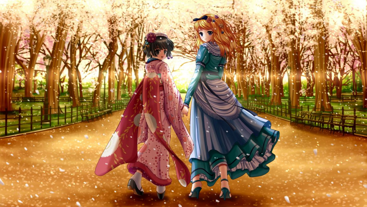 girls alice blanche cherry blossoms dress ikoku meiro no croisee ilolamai japanese clothes petals sunset yune (ikoku meiro no croisee) wallpaper