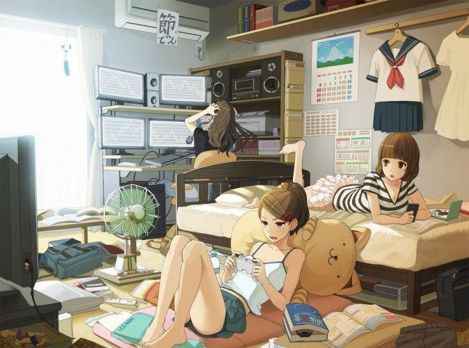 girls room monkey d luffy tori otoko art wallpaper
