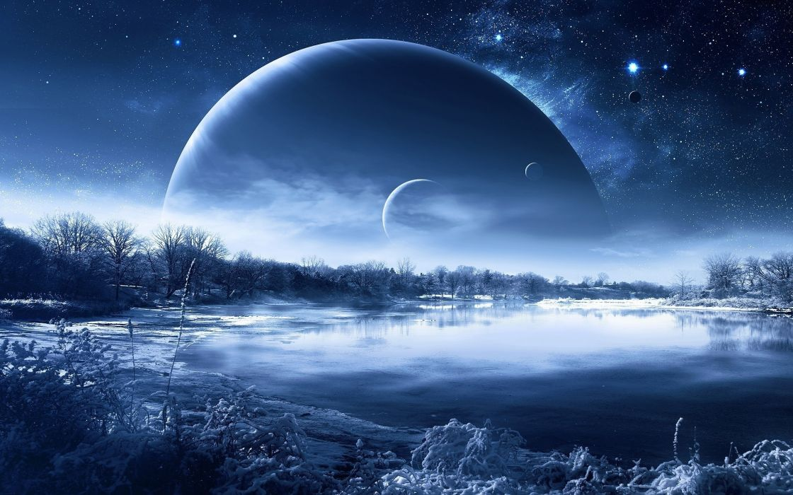 night nature planet a fantastic landscape lakes reflection winter sky stars wallpaper
