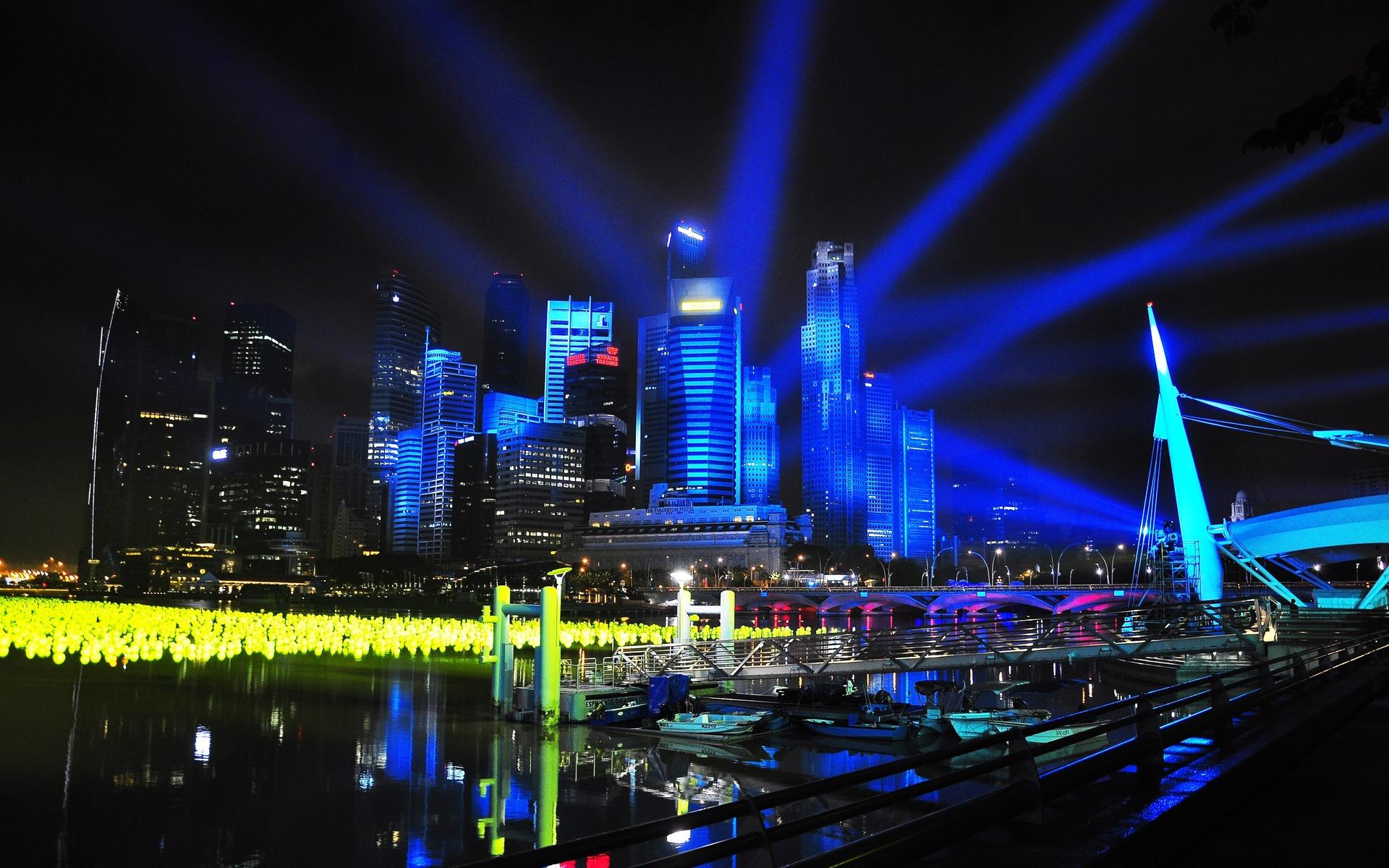 Singapore city night lights wallpaper 1920x1200 77664 - Night light city wallpaper ...