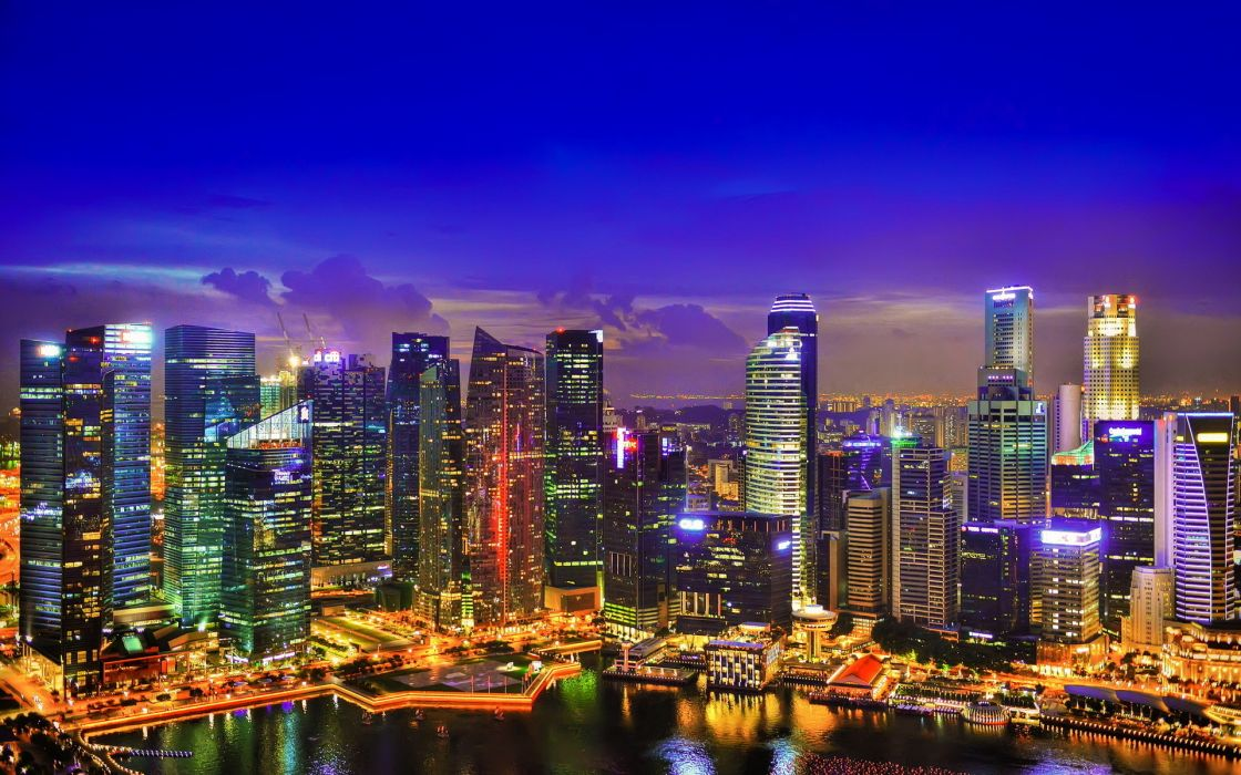 Singapore night lights skyscrapers wallpaper