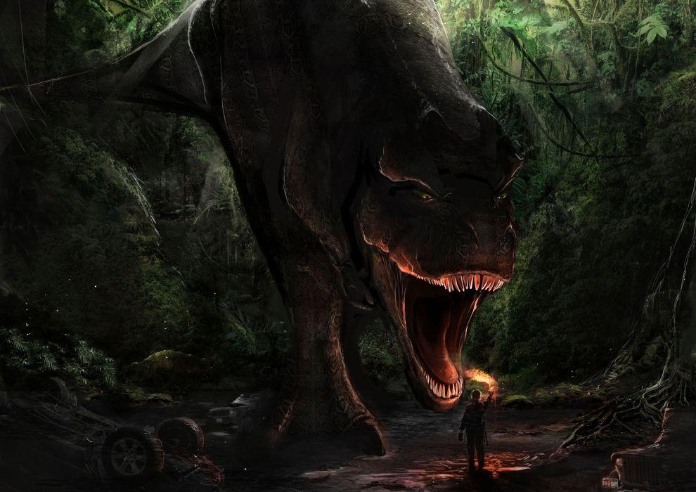 forest man t-rex danger Art jaws a torch a dinosaur dark monster wallpaper