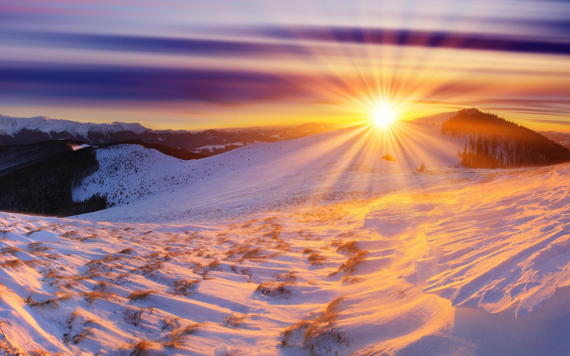 закат над снежной степью  № 831920 бесплатно