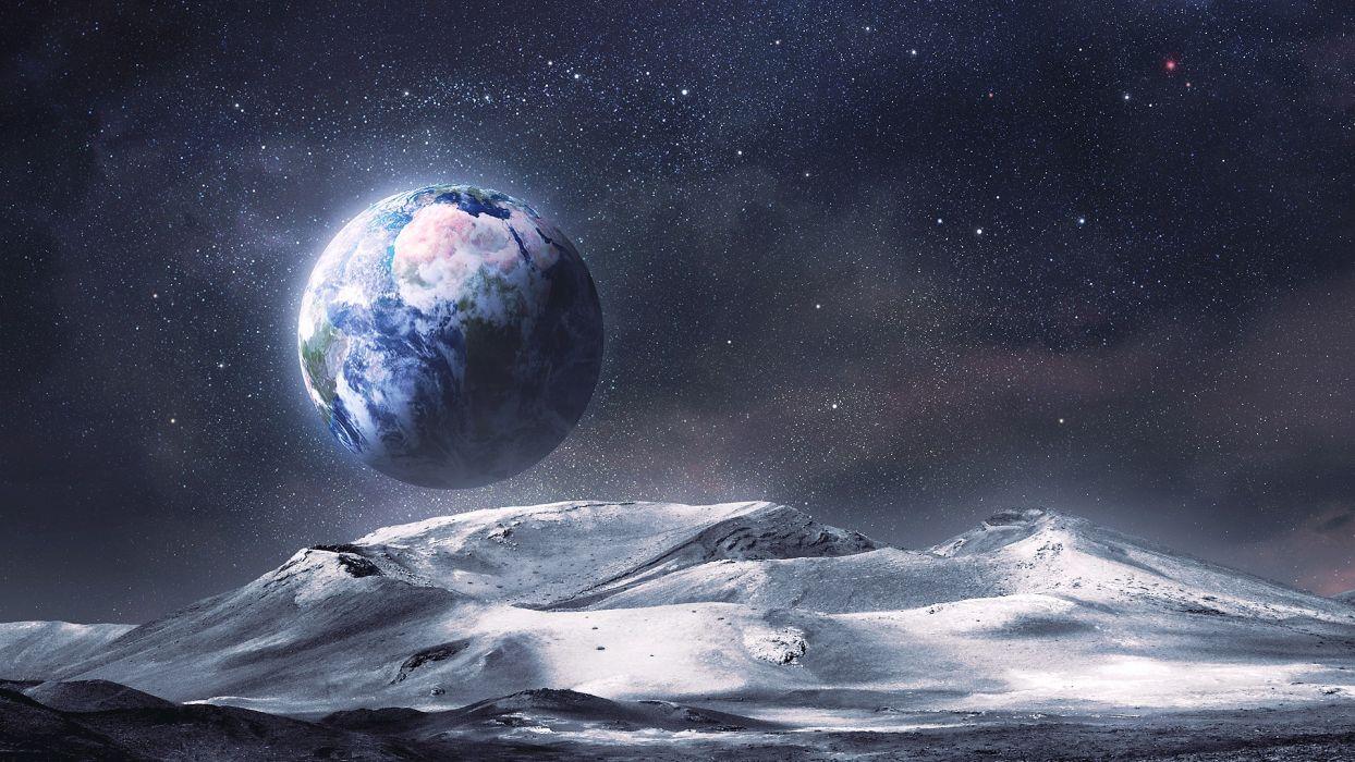 Alien Landscape Planet Stars Earth Moon Wallpaper