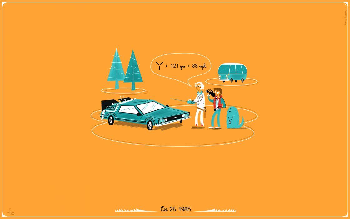 Back to the Future DMC DeLorean Orange wallpaper