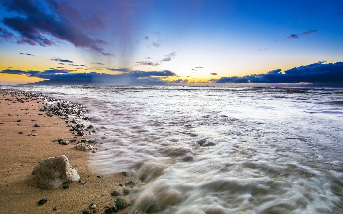 Beach Ocean Sunset Rocks Stones wallpaper