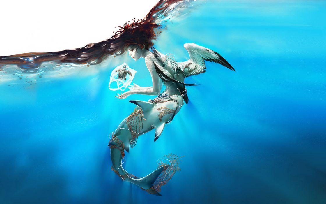 Drawing Underwater Fish Shark Wings Blue Original