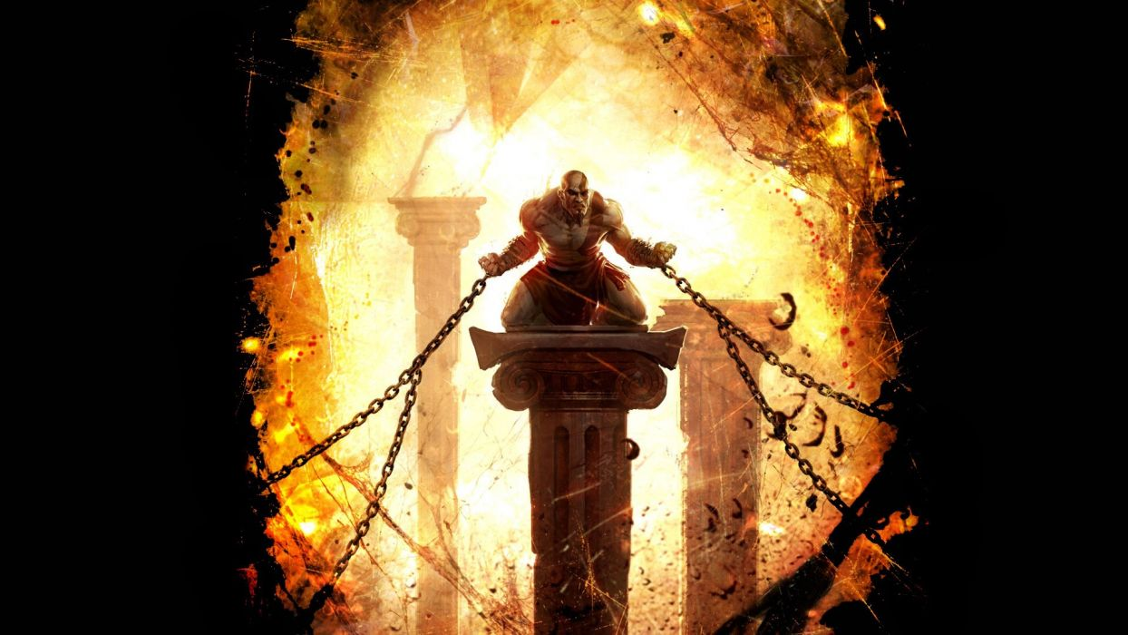 God of War Kratos Chains Black wallpaper