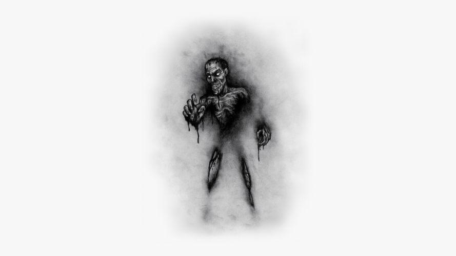 Monster Drawing BW White wallpaper