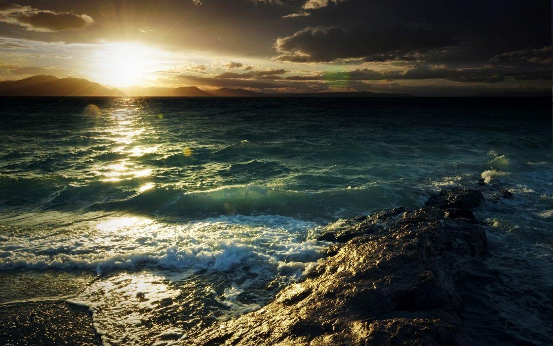 Ocean Shore Sunlight Sunset wallpaper