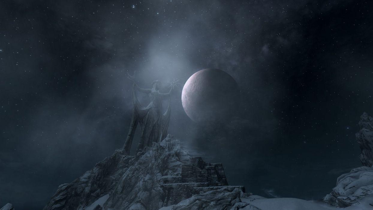 Skyrim Elder Scrolls Moon Stars Statue wallpaper
