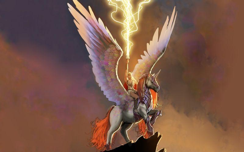 Valkyrie Marvel Pegasus Lightning Wings Drawing wallpaper