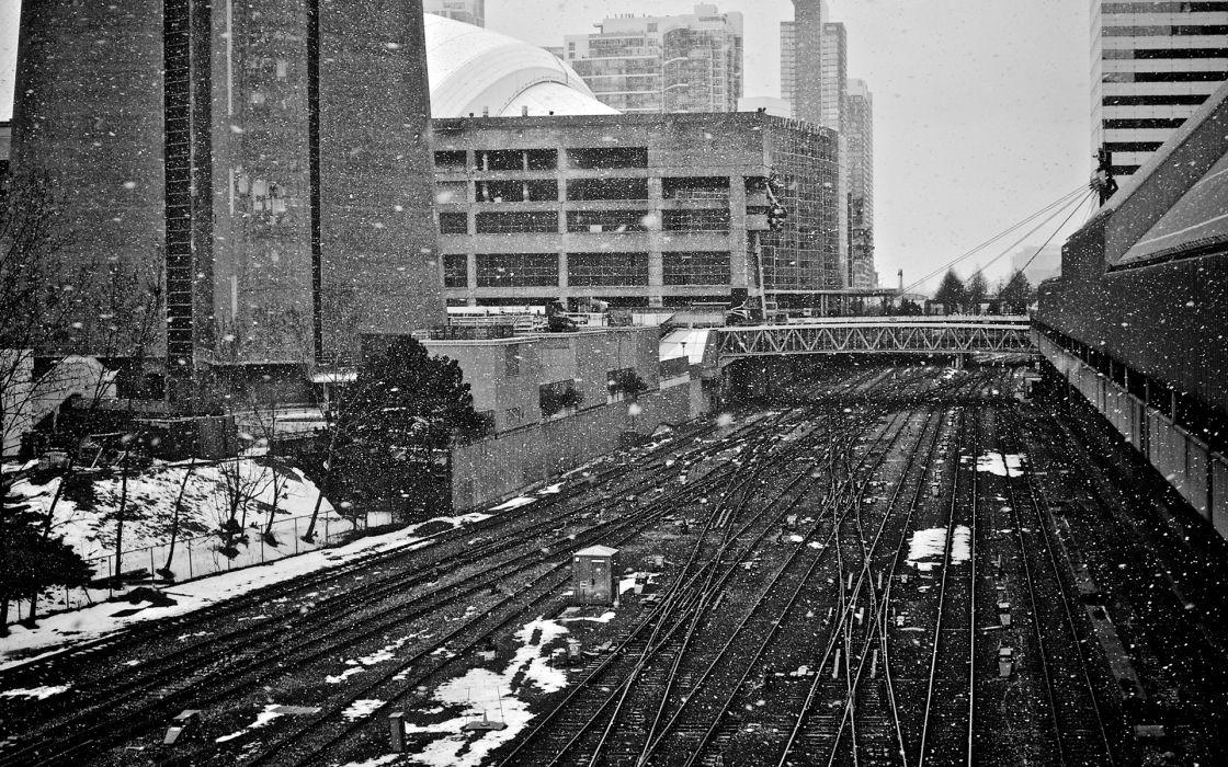 Winter Snow BW Tracks Buildings Railroad Toronto wallpaper