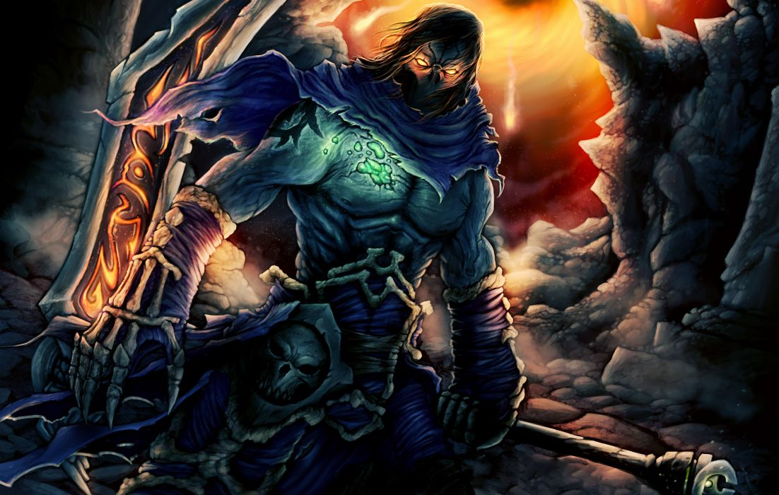 art  darksiders  2  Death  mask  death  mask  skull  runes  weapons fantasy wallpaper