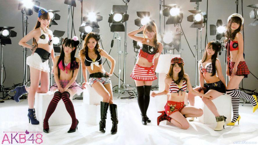 Asian Brunette Lights Skirt AKB48 wallpaper