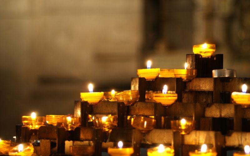candles lights twilight bokeh wallpaper