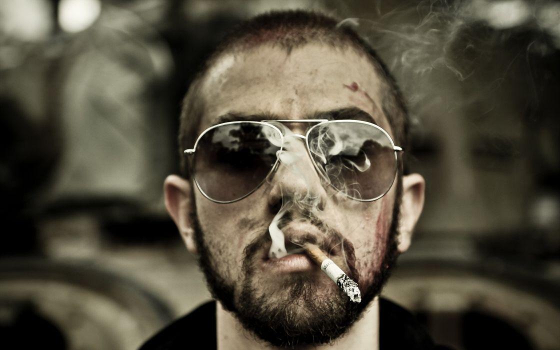Glasses Cigarette Smoke Blood Men Wallpaper