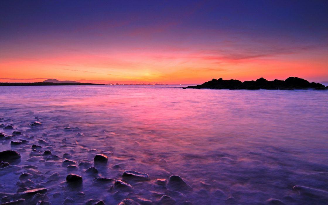 landscape  nature  sunset  horizon  rocks  sea ocean wallpaper