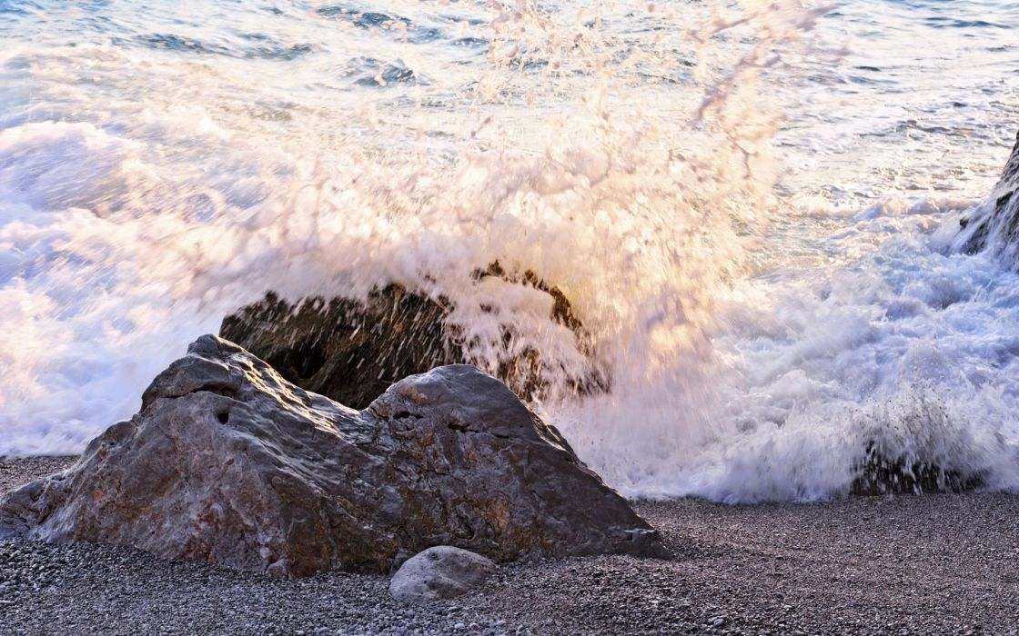 sea aeYaeY beach  rocks  wave  spray waves ocean wallpaper