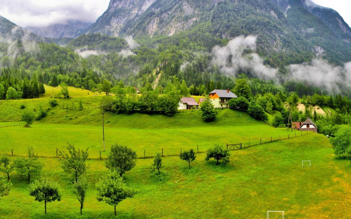 Slovenia mountains trees wood houses clouds grass meadow_ wallpaper
