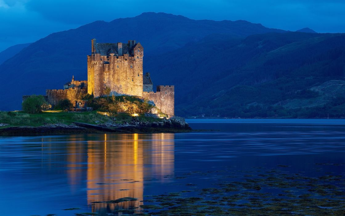 United Kingdom Scotland Dornie night water castle lights light mountains hills blue hour wallpaper