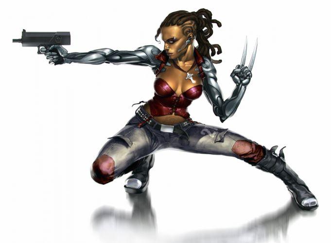Warriors Assault rifle Armor Fantasy Girls wallpaper