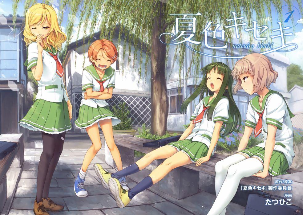 aizawa natsumi hanaki yuka mizukoshi saki natsuiro kiseki pantyhose seifuku tamaki rinko tatsuhiko thighhighs wallpaper