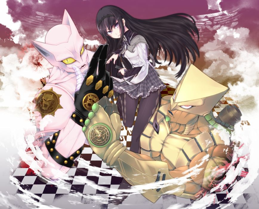 akemi homura altria9 bite the dust black hair jojo no kimyou na bouken killer queen (jojo) long hair pantyhose purple eyes the world wallpaper