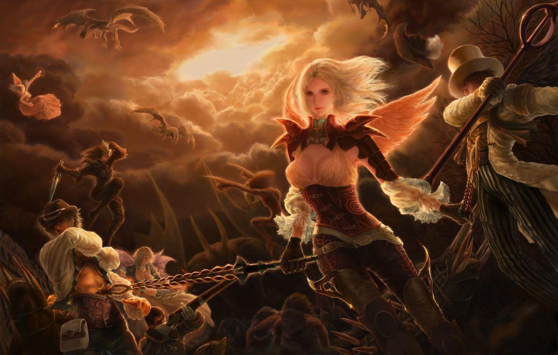 armor blonde hair clouds dragon fedora glasses granado espada gray hair gun hat mask mermin realistic scout (granado espada) weapon wings wallpaper