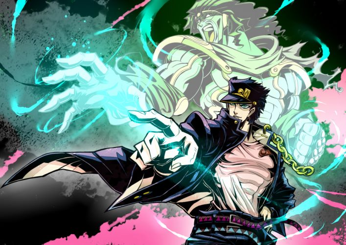 armor blue hair chain gibuchoko gloves green eyes green hair hat jojo no kimyou na bouken kuujou joutarou male short hair star platinum wallpaper