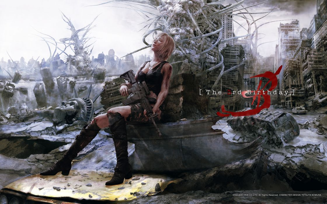 aya brea blonde hair blood gun parasite eve realistic scenic torn clothes weapon wallpaper