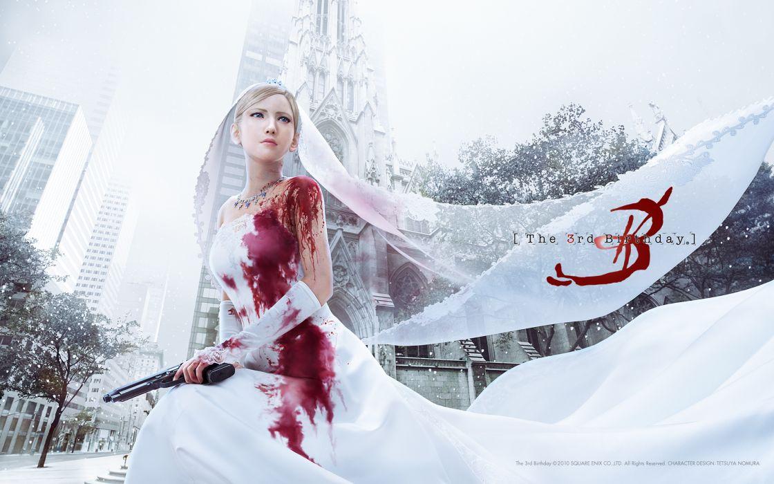 aya brea blood gun parasite eve weapon wedding dress wallpaper