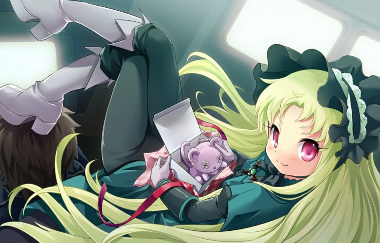 black hair gloves green hair kaitou tenshi twin angel kouzu shou long hair pink eyes wallpaper