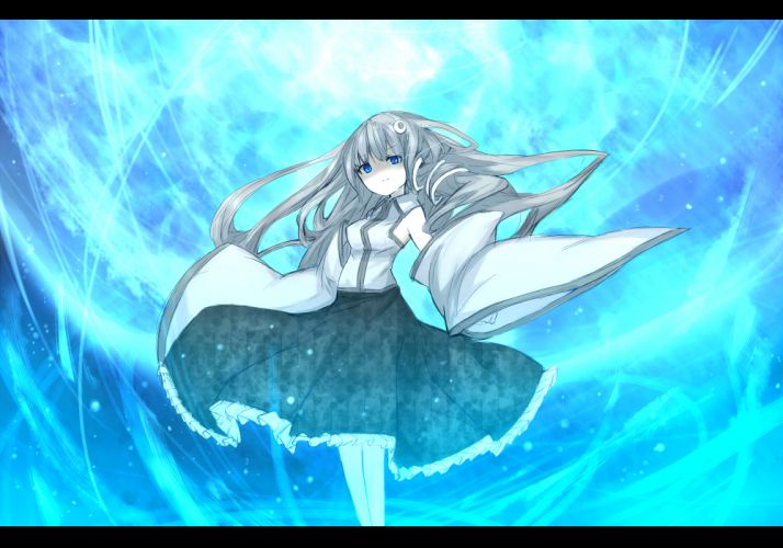 blue eyes gray hair kochiya sanae long hair m_u_g_e_n shiroganeusagi touhou wallpaper