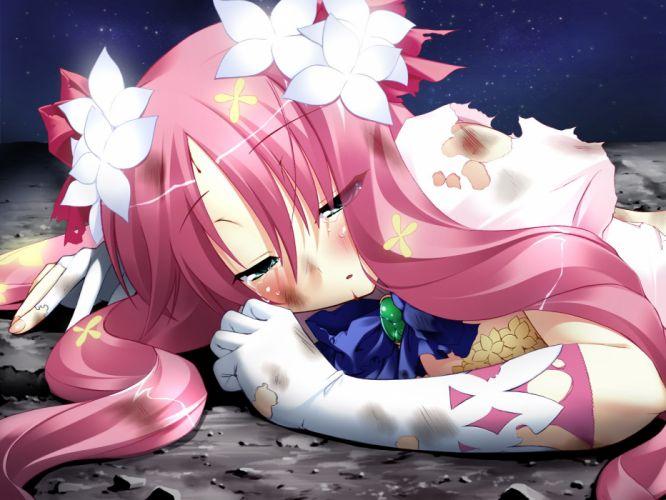blush elbow gloves flowers green eyes long hair minazuki yuno pink hair sky stars tears torn clothes unity marriage wallpaper